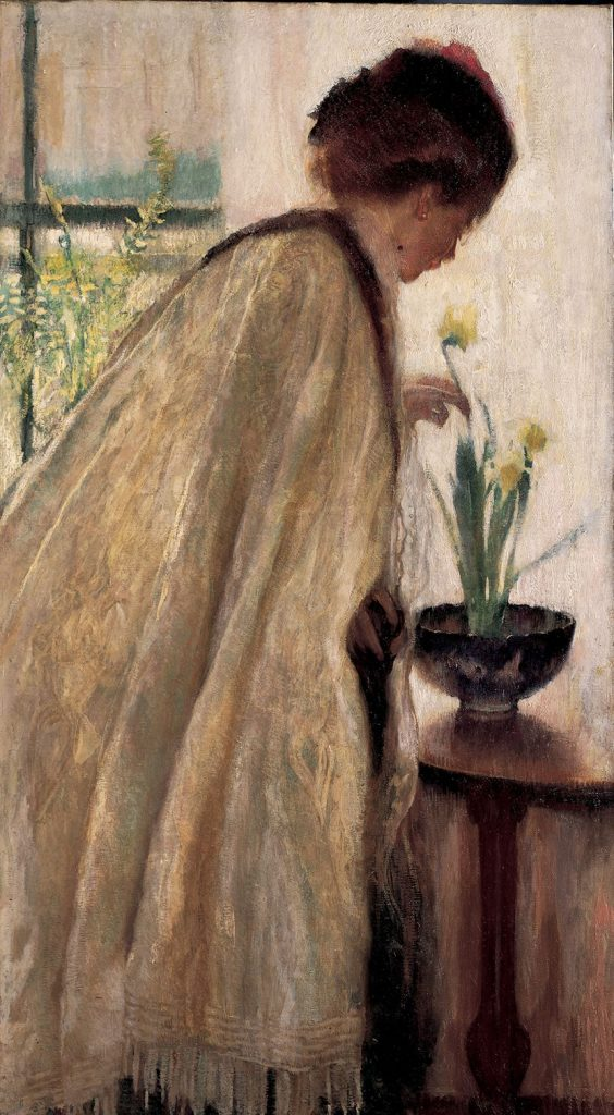 Lilian Hale (1881-1963), Daffy Dow n-Dilly, 1908, Oil on canvas, 44 3/4 x 29 inches, Gift of Mrs. Augustus Putnam from the estate of Mrs. Ernest Amory Codman, 1961.1238