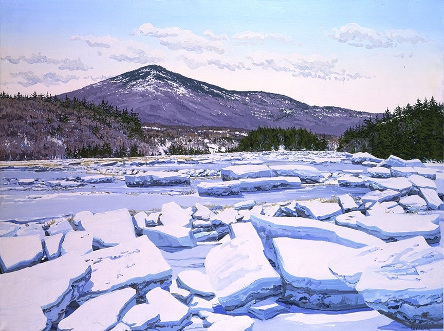 Neil Welliver (American, 1929-2005), Prospect Ice Flow, 1976, Oil on linen on wooden support, 71 7/8 x 95 13/16 inches, Bequest of Mrs. Elizabeth B. Noyce, 1997.3.51