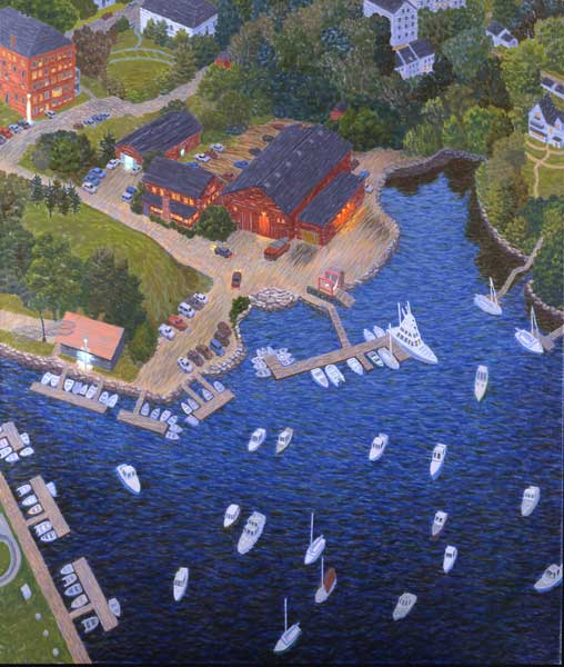 Yvonne Jacquette, Rockport Harbor, 2001, oil on canvas, museum purchase with support from the Friends of the Farnsworth Collection, 2002.16