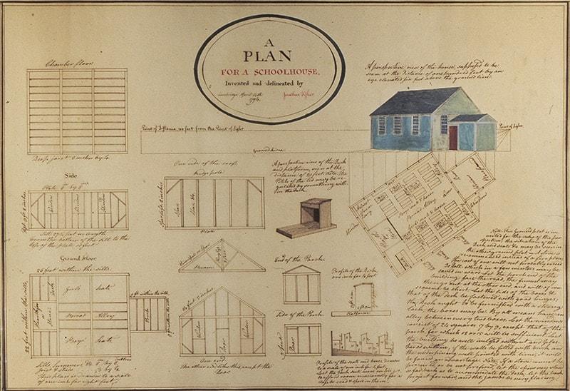 Jonathan Fisher (1768-1847), Plan of Schoolhouse,