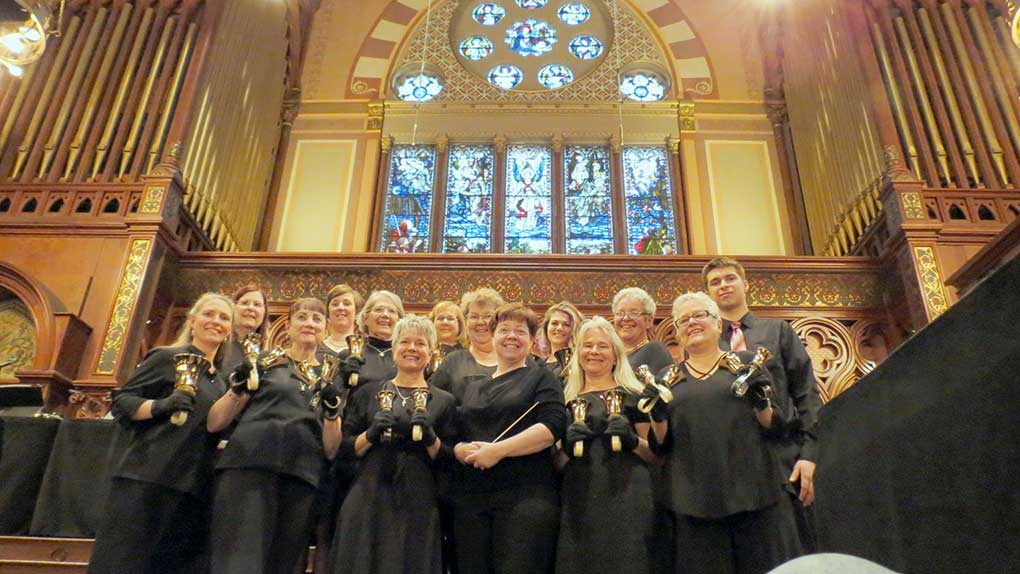 The Penobscot Bay Ringers at Old South Church, Boston, during the May 2017 Boston Handbell Festival.