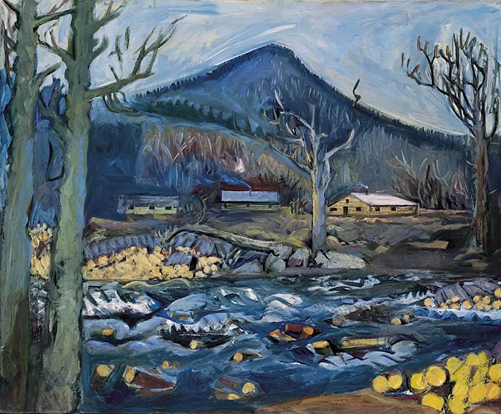 Carl Sprinchorn, Logger's Cabin by the Stream, c. 1948, oil on canvas, 28 x 34 inches, Museum Purchase, 1994.5
