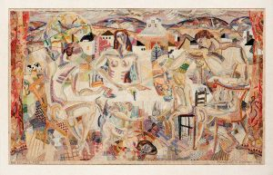 Marguerite Zorach, The Family Supper (Zorach Family), 1922, Wool embroidered on linen, Private Collection