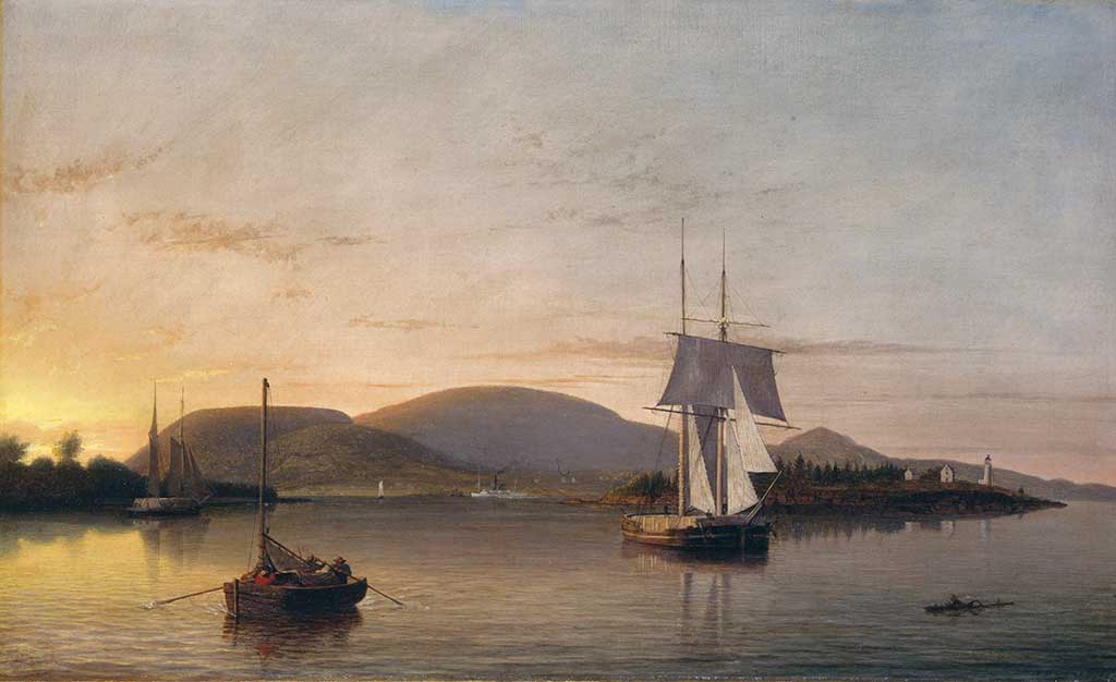 Fitz Henry Lane, Camden Mountains from the South End of the Harbor, 1859, oil on canvas, bequest of Mrs. Elizabeth B. Noyce, 1997