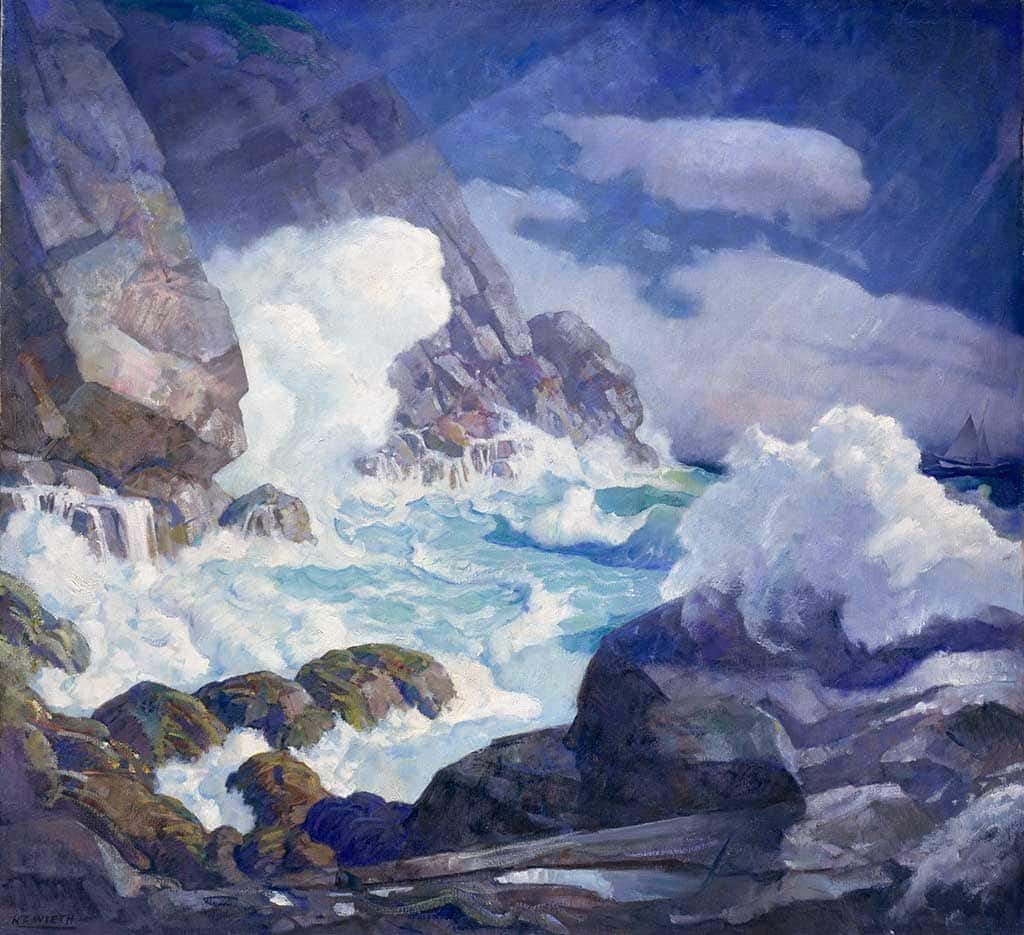 N.C. Wyeth, Maine Headland, Black Head, Monhegan Island, c. 1936-1938, Oil on canvas, 48 1/4 x 52 ¼ inches, Bequest of Mrs. Elizabeth B. Noyce, 1997.3.59