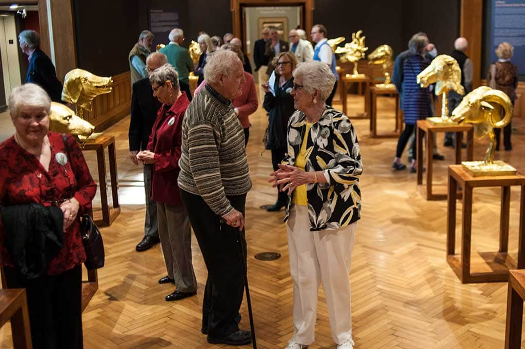 Visitors at the Ai Weiwei exhibition in the Farnsworth Art Museum