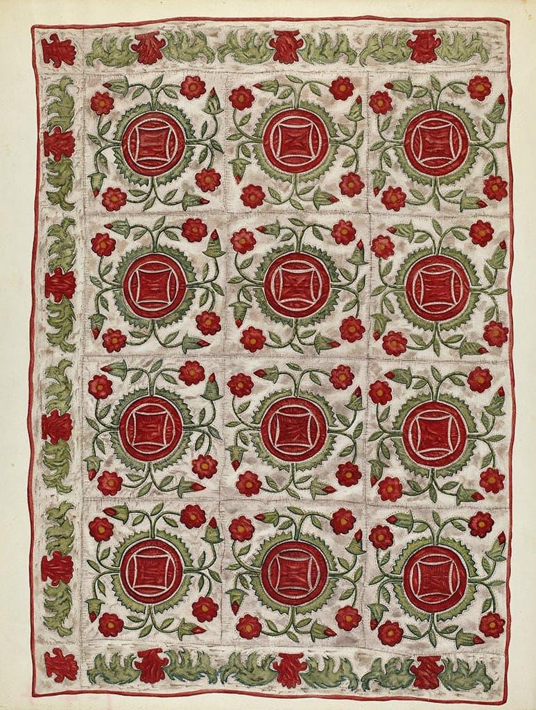 Mildred E. Bent (American, active c. 1935), Applique Quilt,