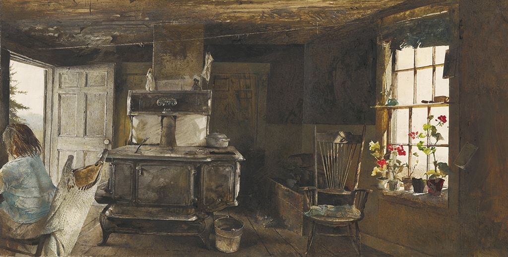 Andrew Wyeth, Wood Stove, 1962 Drybrush watercolor on paper.