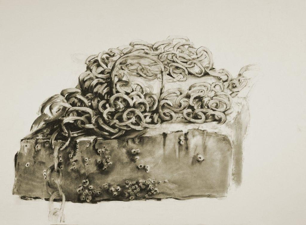 Pam Cabanas, Poseidan's Suitcase, charcoal
