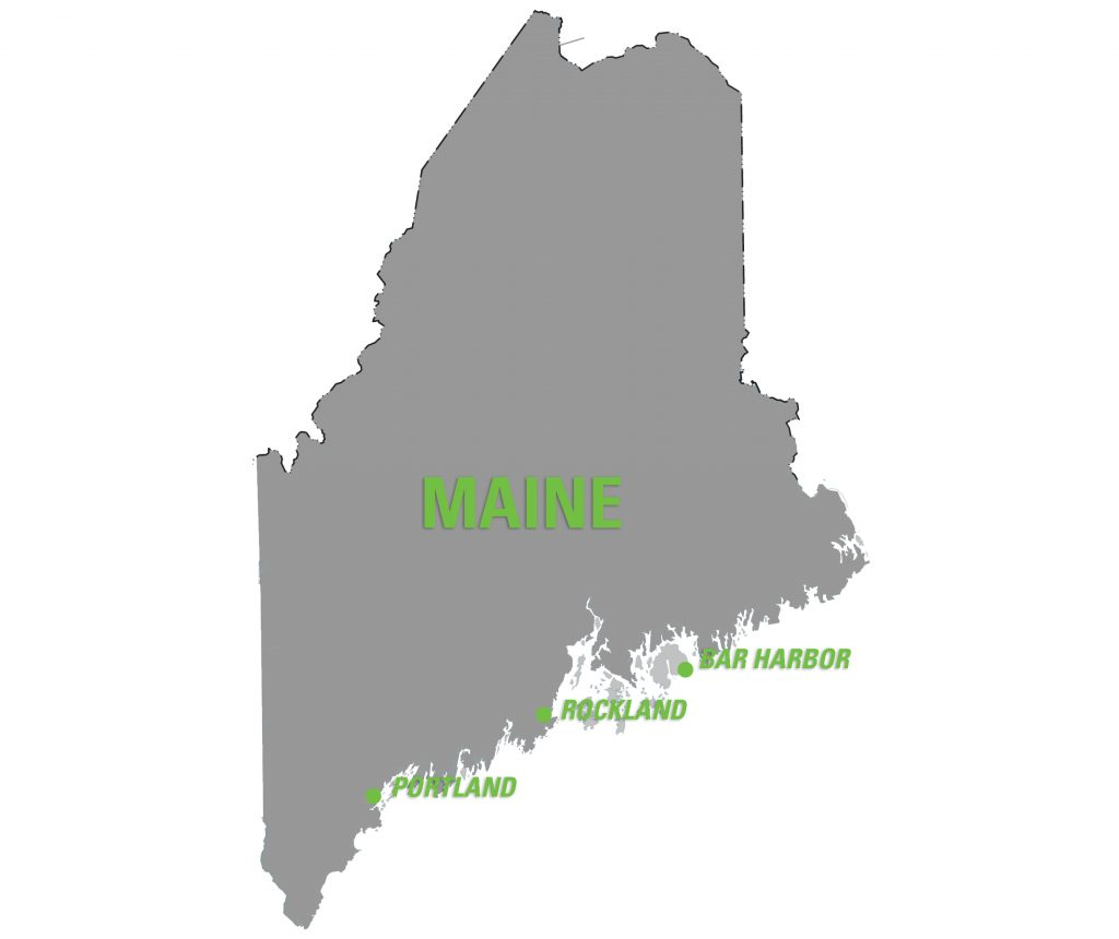 Map of Maine with Rockland, Bar Harbor and Portland