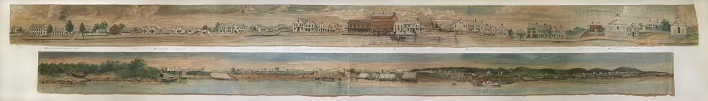 Samuel Fuller and E E Finch, Rockland Panoramas, 1850, Paint on cotton, 35 x 595 1/2 inches, Gift of the City of Rockland, Maine, 1950.719.1