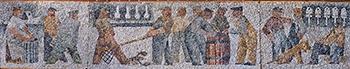 Emily Muir, Stonington, Circa 1960, Stone mosaic, 28 x 148 inches