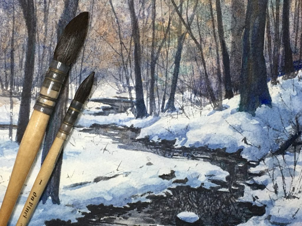 Watercolor by Erica Qualey who is teaching a class at the Farnsworth Art Museum