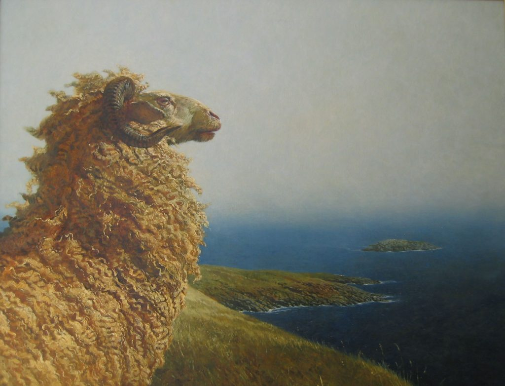 James Wyeth, Islander, 1975, Oil on canvas, 34 x 44 3/8 inches, Collection of the Farnsworth Art Museum