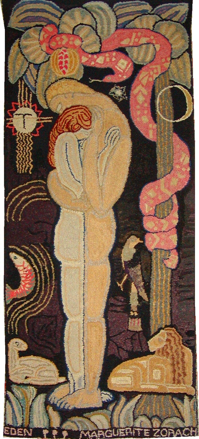 Marguerite Zorach, Eden, 1917, Wool hooked on burlap backed with linen, on view at the Farnsworth Art Museum in 2021