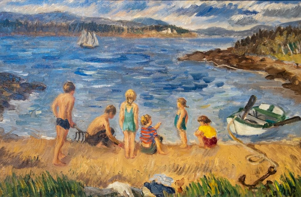 Waldo Peirce, Children on the Shore, 1939, Oil on canvas, Museum purchase, 1945