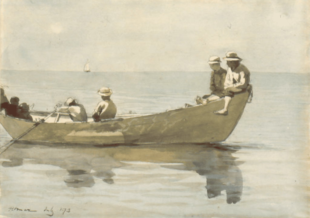 Winslow Homer, Seven Boys in a Dory, 1873; watercolor on paper, anonymous gift, 1999
