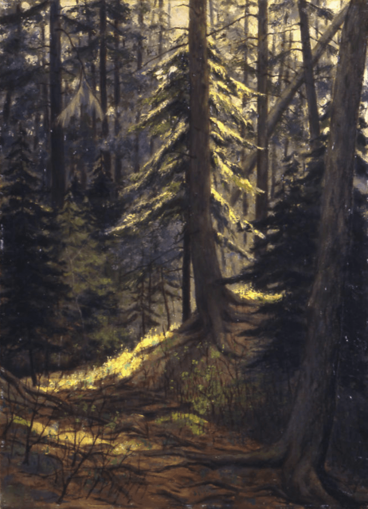 Leo John Meissner, Cathedral Woods, 1967, Oil on academy board, Gift of Mr. and Mrs. Leo J. Meissner, 1967